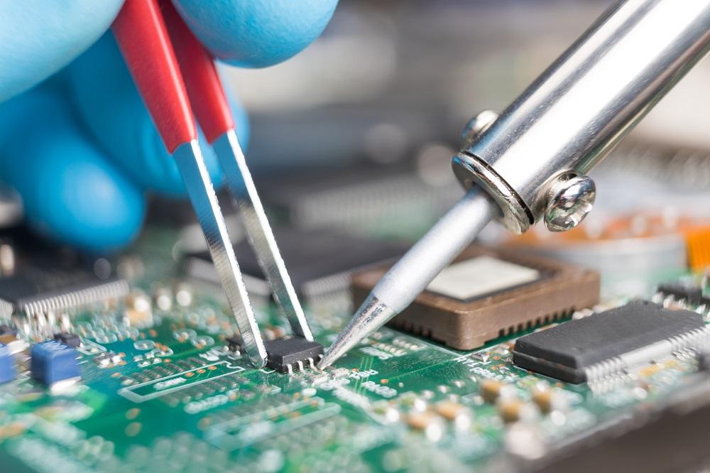 working on circuit board